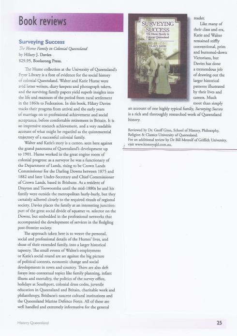 Book Review by Dr Geoff Ginn, History Queensland, Issue 2, February 2012, p. 25.