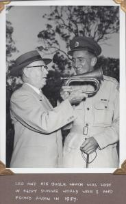 Leo Marienthal presented with the bugle he lost in the Egyptian desert in 1915.